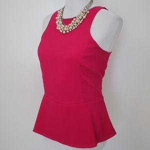 EXPRESS Size Medium Pink Peplum Blouse Fuschia
